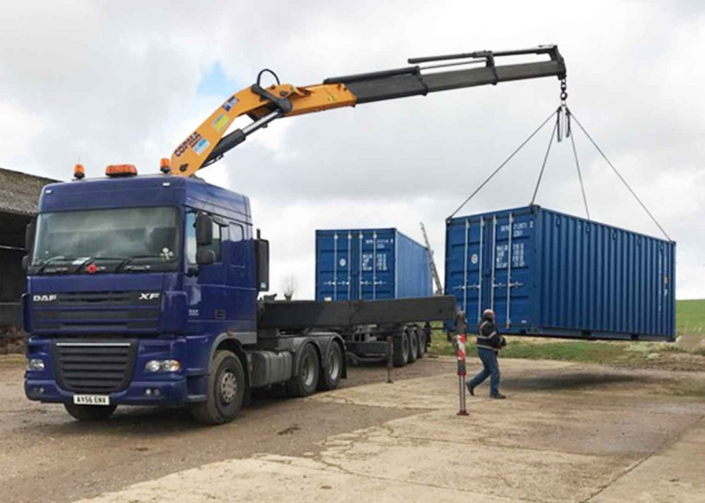 Lorry with two containers at i-Design workshops